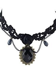 Dame Kort halskæde Blonde Legering Mode Boheme Stil Personaliseret Sort Smykker For Fest Daglig Afslappet 1 Stk.
