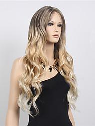 abordables -Perruque Synthétique Femme Ondulé Blond Coupe Asymétrique Cheveux Synthétiques Design Tendance Blond Perruque Long Sans bonnet Blond