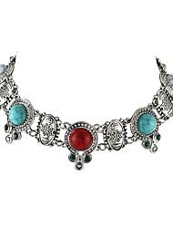 Dame Personaliseret Mode Kort halskæde Læder Turkis Legering Kort halskæde , Fest Daglig Afslappet