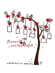 cheap -Wall Stickers Wall Decals Style Red Flower Photo Frame Tree PVC Wall Stickers