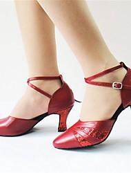 "cheap -Women's Latin Modern Flocking Paillette Leatherette Sandal Heel Indoor Performance Buckle Customized Heel Black Red 1"" - 1 3/4"" 2"" - 2"