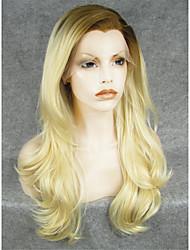 Недорогие -Синтетические кружевные передние парики Естественные волны Искусственные волосы Парик Жен. Лента спереди Отбеливатель Blonde