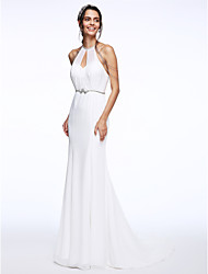 cheap -Mermaid / Trumpet Halter Court Train Chiffon Organza Wedding Dress with Beading Sash / Ribbon by LAN TING BRIDE®