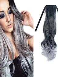 nastro nero mix nonna grigio dell'onda del corpo da 22 pollici nell'estensione dei capelli sintetici