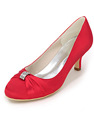 abordables -Femme Chaussures Satin Printemps / Eté Escarpin Basique Chaussures de mariage Invalide Talon Aiguille Bout rond Invalide Strass Bleu /