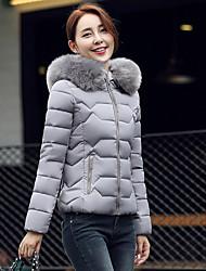 abordables -Abrigo Regular Largo Mujer Simple Formal,Un Color Poliéster Plumón de Pato Blanco Con Capucha Manga Larga,