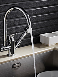 cheap -Kitchen faucet - Contemporary Chrome Pull-out / ­Pull-down Centerset