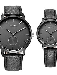 KEZZI® Couple's Quartz Casual Fashion New Watch Leather Belt Small Seconds Round Alloy Dial Watch Cool Watch Unique Watch