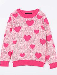 preiswerte -Mädchen Pullover & Cardigan-Lässig/Alltäglich Druck Baumwolle Herbst Rot