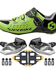baratos -SIDEBIKE Homens Sapatilhas de Ciclismo com Travas & Pedal / Tênis para Ciclismo Nailom e Fibra de Carbono Almofadado Malha Respirável /