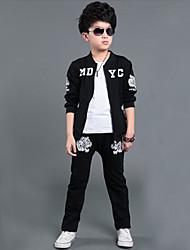 abordables -Ensemble de Vêtements Garçon Sports Coton Hiver Automne Manches Longues Noir Gris