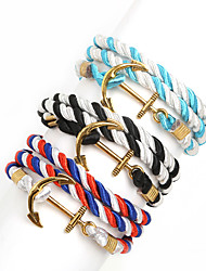 Beadia 1Pc Anchor & Hook Bracelet Multilayer Warp Rope Cord Bracelet