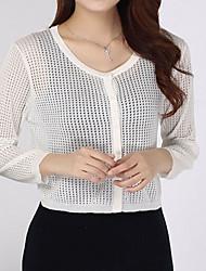 preiswerte -Damen Standard Strickjacke-Lässig/Alltäglich Einfach Street Schick Solide Baumwolle Sommer Transparent Mikro-elastisch