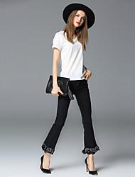 frmz Frauen solide schwarze Jeans / breite Bein pantsstreet chic