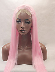 Fashion Long Straight Synthetic Lace Front Wigs Glueless Pink Color For Afro Women Wig