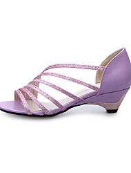 Women's Sandals Summer Sandals PU Casual Low Heel  Purple / Gold