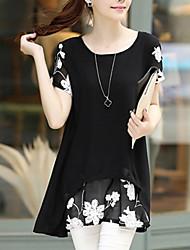 Ženske Sofisticirano Dnevno Plus veličine Širok kroj Šifon Haljina,Cvjetni print Kratkih rukava Okrugli izrez Mini Pamuk Ljeto
