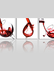 cheap -JAMMORY Canvas Set Landscape ,Three Panels Gallery Wrapped, Ready To Hang Vertical Print No Frame Red Wine Glass