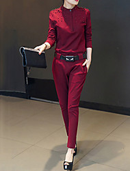 cheap -Women's Solid Red / Black Set,Stand Long Sleeve