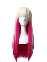 Harajuku Lolita Cosplay Rosed Red Mixed White Color Long Lenght Straight Capless Wig with Bang Lovely Natural High Temperature Full Wig On Sale