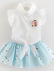 abordables -Ensemble de Vêtements Fille de Fleur Décontracté / Quotidien Coton Eté / Automne Bleu / Rose