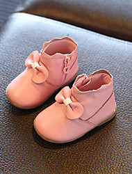 Girls' Shoes Leather Spring Summer Fall Boots Flat Heel Bowknot Zipper For Outdoor White Red Blushing Pink