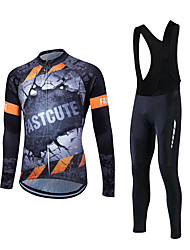 cheap -Fastcute Men's Long Sleeve Cycling Jersey with Bib Tights - Black Bike Clothing Suits, Thermal / Warm Fleece