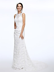 cheap -A-Line Jewel Neck Court Train Lace Made-To-Measure Wedding Dresses with Beading / Button by LAN TING BRIDE®
