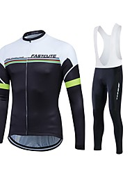 Fastcute Cycling Jersey with Bib Tights Men's Women's Unisex Long Sleeves Bike Pants/Trousers/Overtrousers Tracksuit Jersey Tights Bib