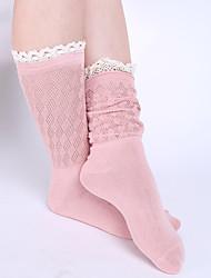 preiswerte -Damen Socken Baumwolle Solide Medium Schwarz Beige Grün Rosa Khaki
