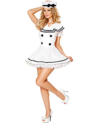 cheap -Sailor Cosplay Costume Party Costume Female Halloween Oktoberfest Festival / Holiday Halloween Costumes White Solid