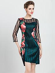preiswerte -masa Frauen plus Größe / Ausgang Vintage-Mantel dressfloral / Patchwork Rundhals asymmetrische Hülse