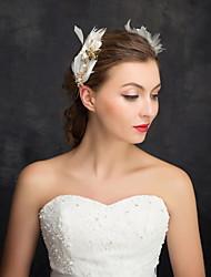 Mulheres Menina das Flores Penas Strass Liga Imitação de Pérola Capacete-Casamento Ocasião Especial Casual Alfinete de Cabelo 2 Peças
