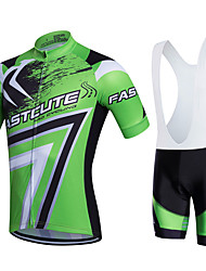cheap -Fastcute Men's Women's Short Sleeves Cycling Jersey with Bib Shorts Bike Clothing Suits, 3D Pad, Quick Dry, Breathable, Sweat-wicking,