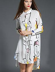 Dámské Sofistikované Běžné/Denní Volné Šaty Tisk,Dlouhý rukáv Kulatý Asymetrické Bílá Polyester Podzim Mid Rise Lehce elastické Tenké