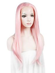 Недорогие -Синтетические кружевные передние парики Жен. Прямой Розовый Искусственные волосы Розовый Парик Лента спереди Розовый