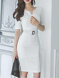 cheap -Women's Going out Casual Sheath Dress,Striped V Neck Knee-length Short Sleeves Cotton Polyester Summer Mid Rise