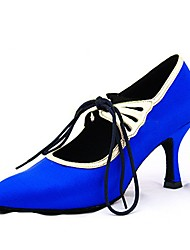 cheap -Women's Latin Shoes / Modern Shoes Satin Sandal / Heel Lace-up Customized Heel Customizable Dance Shoes Blue / Indoor / Professional