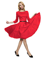 cheap -Maggie Tang Women's Bow  3/4 Sleeve 50s VTG Retro Rockabilly Hepburn Pinup Full Circle Swing Cos Party Dress 551