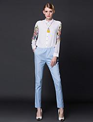 jumpsuitssimple bianco manicotto delle donne frmz floreale / patchwork colletto della camicia lunga