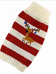 baratos -Gato Cachorro Súeters Roupas para Cães Rena Vermelho Verde Algodão Ocasiões Especiais Para animais de estimação Homens Mulheres Fofo Natal