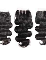 Недорогие -Прямой Классика 100% ручная работа Швейцарское кружево Натуральные волосы Бесплатный Часть Средняя часть 3 Часть Высокое качество