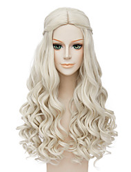 cheap -Fashion Long Curly Wig Blonde Color Synthetic Cosplay African American Wigs