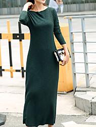 Courte Robe Femme Soirée / Cocktail simple,Rayé Bateau Maxi Manches Longues Rouge Gris Vert Rayonne Automne Hiver Taille Normale Elastique