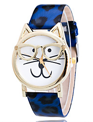 Women's Watch Kid's Watch Leopard Cat Shape Cartoon PU Leather Band Fashion Wrist Watch