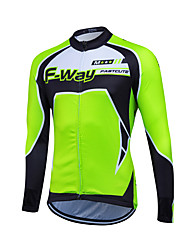 abordables -Fastcute Homme Manches Longues Maillot de Cyclisme - Rouge Vert Bleu Classique Cyclisme Hauts / Top, Pare-vent Garder au chaud, Hiver, Toison / Elastique