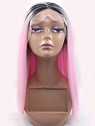 economico -Donna Parrucche sintetiche Lace frontale Lisci Rosa parrucca del merletto Parrucca di Halloween Parrucca di carnevale costumi parrucche