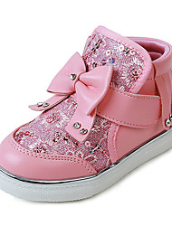 Girl's Boots Fall Winter Comfort PU Casual Flat Heel Pink Red White Walking