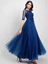 A-Line Illusion Neckline Floor Length Lace Tulle Prom Formal Evening Dress with Lace by QZ
