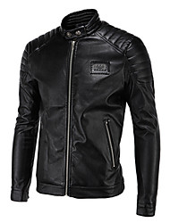 cheap -Men's Daily Casual Leather JacketsSolid Stand Long Sleeve Spring / Winter Black PU Thick